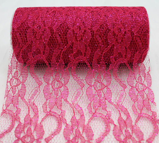 "6"" Fuchsia Sparkle Lace - 10 Yard Ribbon"